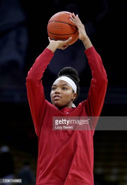 Maya Dodson of the Stanford Cardinal shoots a jump shot during warm ups prior to a game between the Stanford Cardinal and the Colorado Buffaloes at...