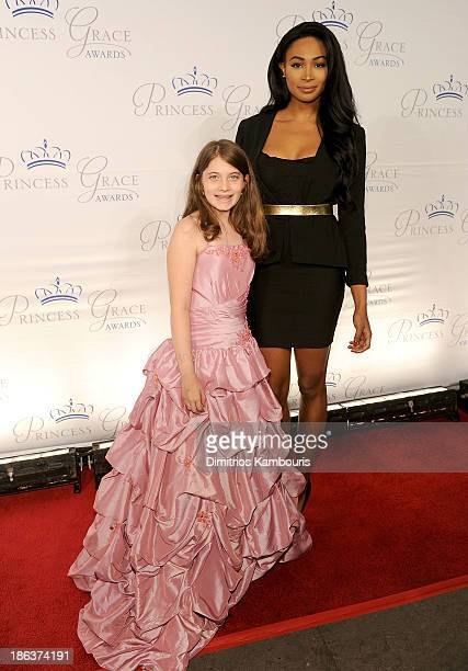 Maya Eisenberg and Miss USA 2012 Nana Meriwether attend the 2013 Princess Grace Awards Gala at Cipriani 42nd Street on October 30 2013 in New York...