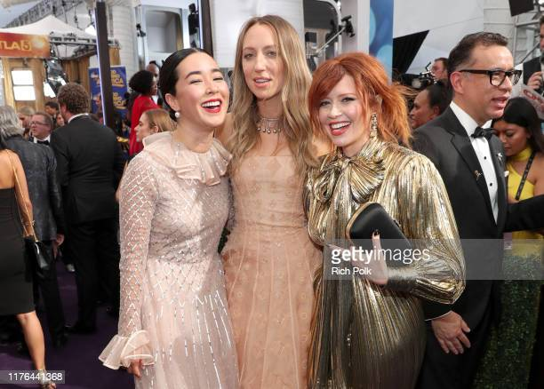 Maya Erskine, Anna Konkle and Natasha Lyonne walk the red carpet during the 71st Annual Primetime Emmy Awards on September 22, 2019 in Los Angeles,...