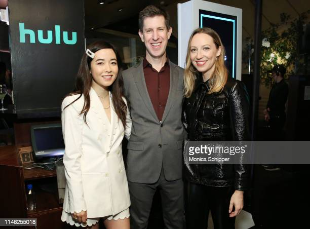 Maya Erskine Head of Content for Hulu Craig Erwich and Anna Konkle pose for a photo during the Hulu '19 Presentation at Hulu Theater at MSG on May 01...