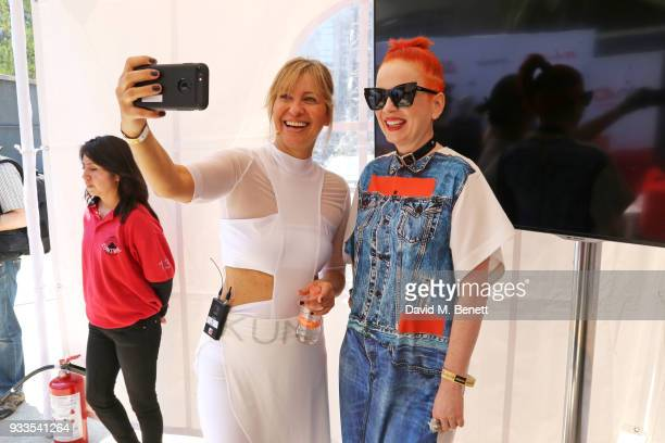 Maya Fiennes and Shirley Manson attend day two of the Liberatum Mexico Festival 2018 at Monumento a la Revolucion on March 17 2018 in Mexico City...