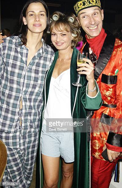 Maya Flick with artist Andrew Logan and guest at a pyjama party held to raise funds for Everyman The Institute of Cancer Research's male cancer...