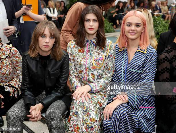 Maya Hawke Alexandra Daddario and Charlotte Lawrence attend Tory Burch NYFW SS20 at the Brooklyn Museum on September 08 2019 in Brooklyn City