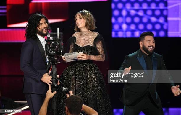 Maya Hawke and Dan Smyers and Shay Mooney of Dan Shay speak onstage during the 2019 American Music Awards at Microsoft Theater on November 24 2019 in...