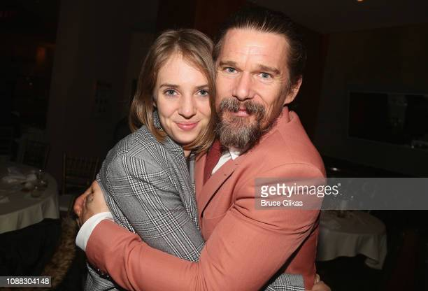 Maya Hawke and father Ethan Hawke pose at the opening night after party for the Roundabout Theatre Company's production of Sam Shepard's True West on...