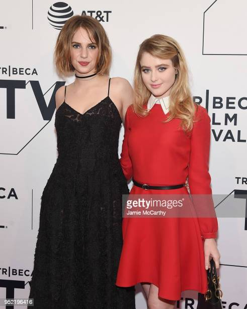 Maya Hawke and Kathryn Newton attend the screening of 'Little Women' during the 2018 Tribeca Film Festival at SVA Theatre on April 27 2018 in New...