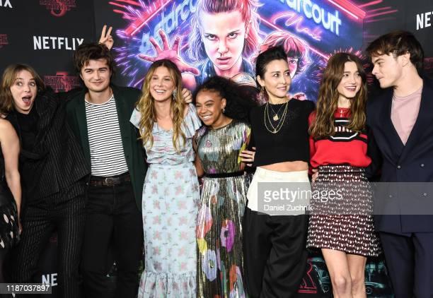 Maya Hawke Joe Keery Millie Bobby Brown Priah Ferguson Carmen Cuba Natalia Dyer Charlie Heaton attend the New York Screening of Stranger Things...