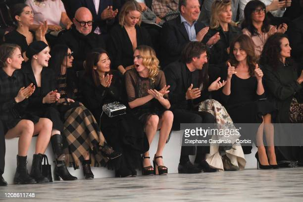 Maya Hawke Rachel Brosnahan Demi Moore guest Cara Delevingne CEO of Dior Pietro Beccari Carla Bruni and Andie MacDowell attend the Dior show as part...