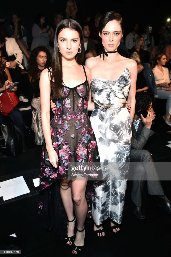 Maya Henry and Coco Rocha attend the Marchesa fashion show during New York Fashion Week: at Gallery 1, Skylight Clarkson Sq on September 13, 2017 in New York City.