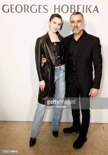 Maya Henry and fashion designer Georges Hobeika attend the Georges Hobeika Haute Couture Spring/Summer 2020 show as part of Paris Fashion Week on...