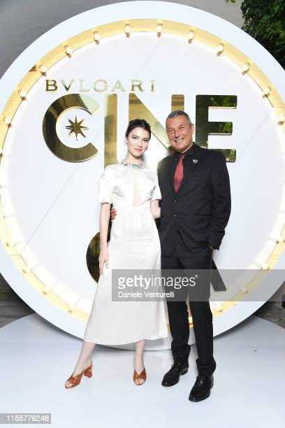 Maya Henry and Jean Christophe Babin attend the Bvlgari Hight Jewelry Exhibition on June 13 2019 in Capri Italy