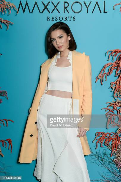 Maya Henry attends a private dinner hosted by Natalia Vodianova Maxx Royal Resorts during London Fashion Week February 2020 on February 17 2020 in...