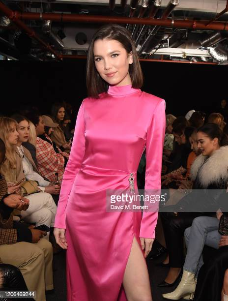 Maya Henry attends the David Koma front row during London Fashion Week February 2020 at The Leadenhall Building on February 15 2020 in London England