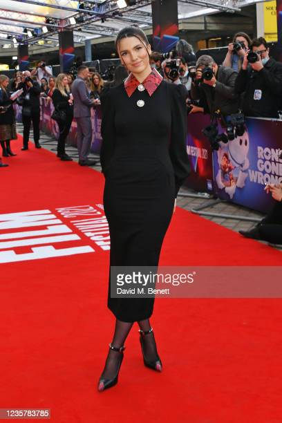 """Maya Henry attends the UK Premiere of """"Ron's Gone Wrong"""" during the 65th London Film Festival at The Royal Festival Hall on October 9, 2021 in..."""