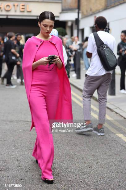 Maya Henry seen attending Roland Mouret at the Soho Hotel during London Fashion Week September 2021 on September 19, 2021 in London, England.