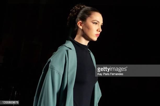 Maya Henry walks the runway before the Georges Hobeika Haute Couture Spring/Summer 2020 show as part of Paris Fashion Week on January 20 2020 in...