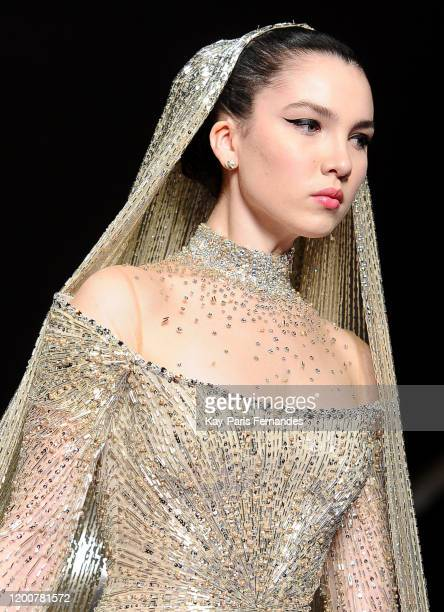 Maya Henry walks the runway during the Georges Hobeika Haute Couture Spring/Summer 2020 show as part of Paris Fashion Week on January 20 2020 in...