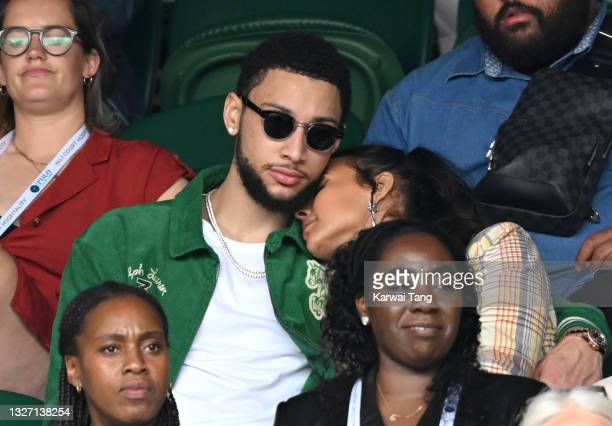 Maya Jama and Ben Simmons attend day 7 of the Wimbledon Tennis Championships at the All England Lawn Tennis and Croquet Club on July 05, 2021 in...