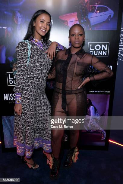Maya Jama and guest attend LON DUNN x Missguided Official Launch Party Hosted by Jourdan Dunn at The London Reign on September 16 2017 in London...