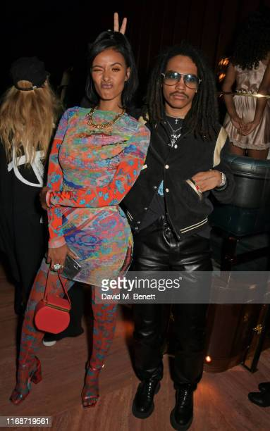 Maya Jama and Luka Sabbat attend the LOVE YouTube LFW party supported by PerrietJouet and hosted by Katie Grand Derek Blasberg at Decimo at The...