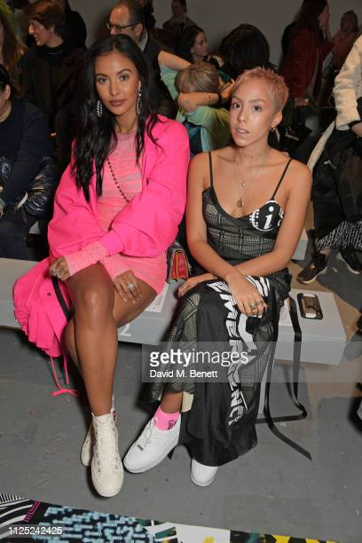 Maya Jama and Poppy Ajudha attend the House of Holland AW19 London Fashion Week catwalk show showcasing the limitededition Vype ePen 3 / vaping...