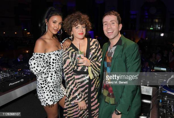 Maya Jama, Annie Mac and Nick Grimshaw attend the Universal Music BRIT Awards After Party 2019 hosted by Soho House and BACARDI rum at The Ned on...