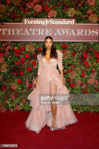 Maya Jama arrives at The 64th Evening Standard Theatre Awards at the Theatre Royal Drury Lane on November 18 2018 in London England