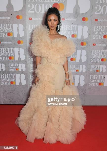 Maya Jama arrives at The BRIT Awards 2019 held at The O2 Arena on February 20 2019 in London England