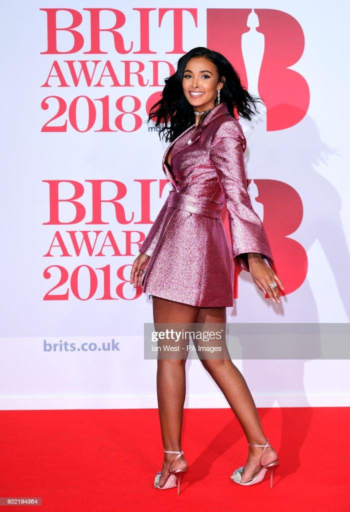 Maya Jama attending the Brit Awards at the O2 Arena, London.