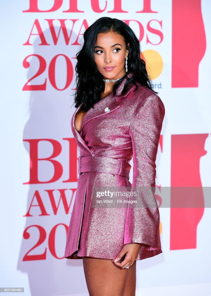 Maya Jama attending the Brit Awards at the O2 Arena, London. PRESS ASSOCIATION Photo. Picture date: Wednesday February 21, 2018. See PA story SHOWBIZ Brits. Photo credit should read: Ian West/PA Wire