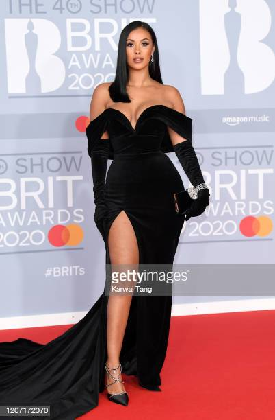 Maya Jama attends The BRIT Awards 2020 at The O2 Arena on February 18 2020 in London England