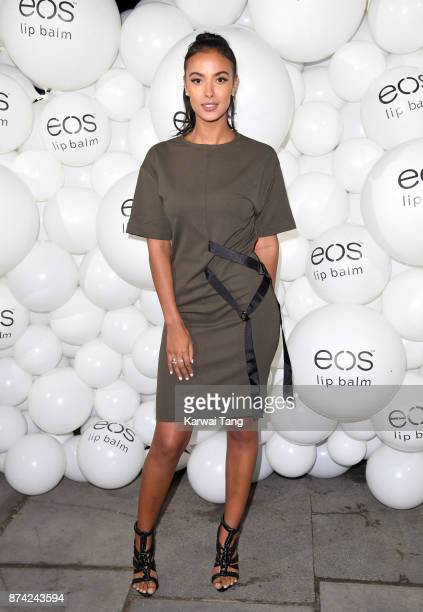 Maya Jama attends the 'EOS Lip Balm Winter Lips' party at Jimmy's Lodge Pop up on November 14 2017 in London England