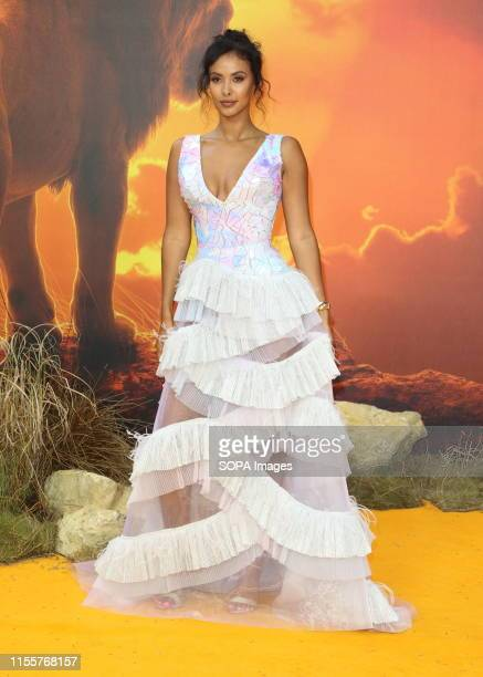 Maya Jama attends the European Premiere of Disney's The Lion King at the Odeon Luxe cinema Leicester Square in London