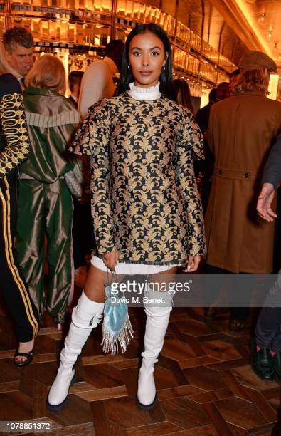 Maya Jama attends the GQ dinner hosted by Dylan Jones and David Beckham to celebrate London Fashion Week Men's January 2019 at Brasserie Of Light in...