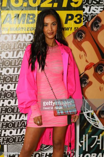 Maya Jama attends the House of Holland AW19 London Fashion Week catwalk show showcasing the limitededition Vype ePen 3 / vaping pendant created by...
