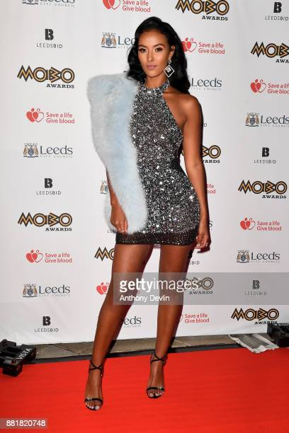 Maya Jama attends the MOBO Awards at First Direct Arena Leeds on November 29 2017 in Leeds England