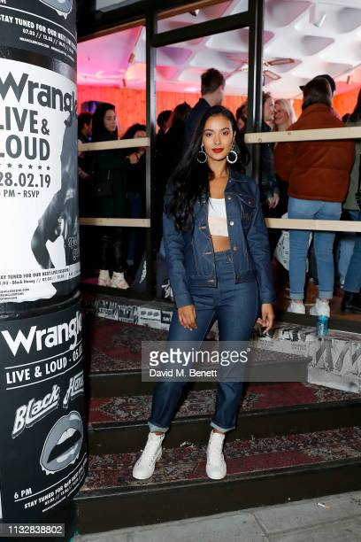 Maya Jama attends the Wrangler ICONS Pop Up with IAMDDB performance to launch the Wrangler ICONS collection in Soho London on February 28 2019 in...