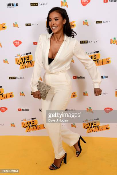 Maya Jama attends UK Grime and Hip Hop the KA GRM Daily RATED AWARDS at legendary music venue The Roundhouse on October 24 2017 in London England