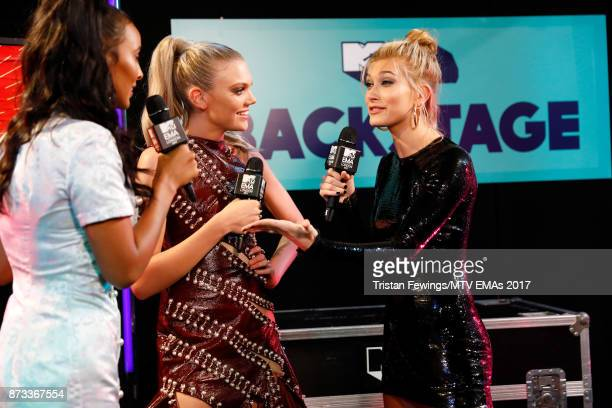 Maya Jama Becca Dudley and Hailey Baldwin backstage during the MTV EMAs 2017 held at The SSE Arena Wembley on November 12 2017 in London England