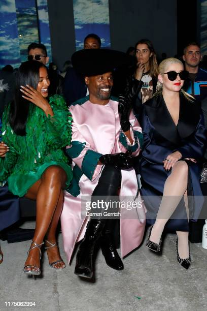 Maya Jama, Billy Porter and Christina Aguilera attend the Christopher Kane show during London Fashion Week September 2019 on September 16, 2019 in...