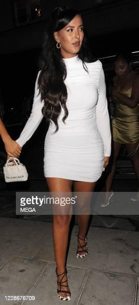 Maya Jama is seen leaving Annabel's private members club on September 23, 2020 in London, England.