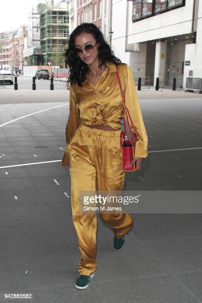Maya Jama seen at the BBC on April 7 2018 in London England