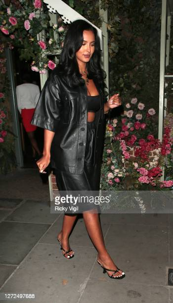 Maya Jama seen leaving The Ivy Chelsea Garden on September 14, 2020 in London, England.