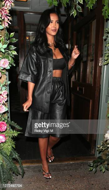 Maya Jama seen on a night out with a friend leaving The Ivy Chelsea Garden on September 14, 2020 in London, England.