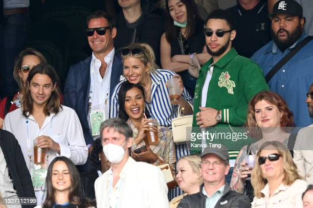 Maya Jama, Sienna Miller and Ben Simmons attend Wimbledon Championships Tennis Tournament at All England Lawn Tennis and Croquet Club on July 05,...