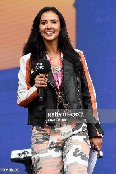 Maya Jama speaks on stage during day 1 of BBC Radio 1's Biggest Weekend 2018 held at Singleton Park on May 26 2018 in Swansea Wales