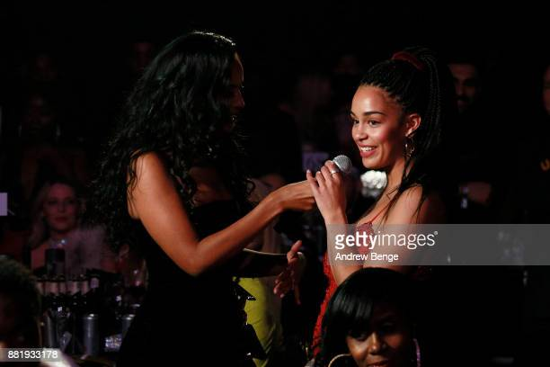 Maya Jama speaks to Jorja Smith at the MOBO Awards at First Direct Arena Leeds on November 29 2017 in Leeds England