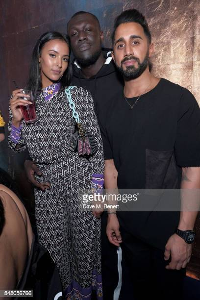 Maya Jama Stormzy and Missguided founder Nitin Passi attend LON DUNN x Missguided Official Launch Party Hosted by Jourdan Dunn at The London Reign on...