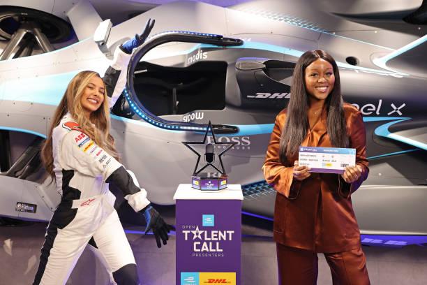 GBR: Maya Jama Surprises ABB FIA Formula E Open Talent Call For Presenters Winner Derin Adetosoye