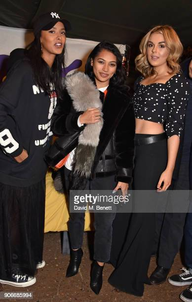Maya Jama Vanessa White and Tallia Storm attend the Grand Opening of the Cadbury Creme Egg Camp on January 18 2018 in London England